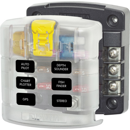 Blue Sea Systems ST Blade Fuse Block, 6 Circuits with Cover