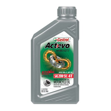 (3 Pack) Castrol Actevo 4T 20W-50 Part Synthetic Motorcycle Oil, 1 QT