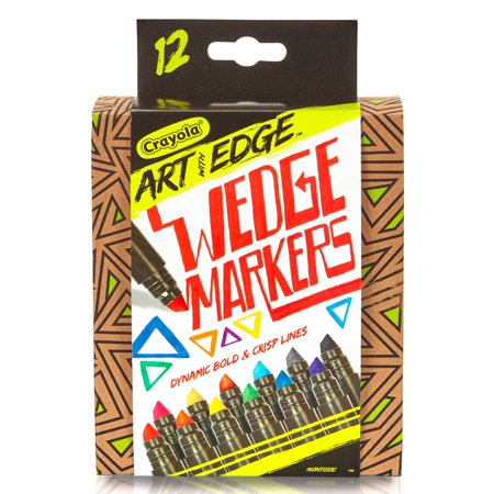 Crayola 12 Count Art with Edge Wedge Tip Markers, Aged Up Coloring