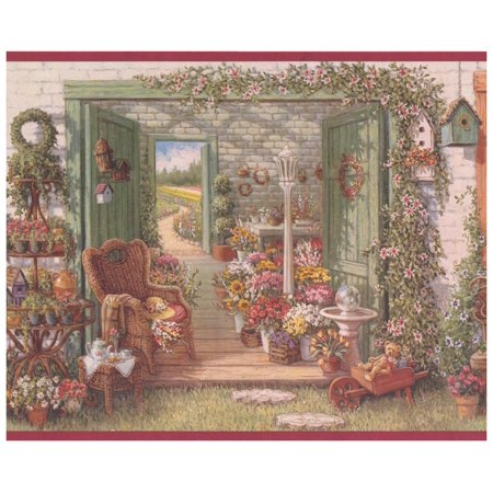 Wall Border - Village Flower Shop Vintage Wallpaper Border Retro Design, Prepasted Roll 15 ft. x 10 in.