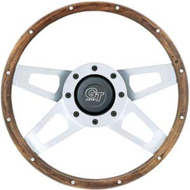 GRANT 405 Wood Challenger Steering Wheels, Silver Satin