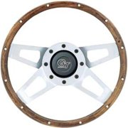 GRANT 405 Wood Challenger Steering Wheels, Silver Satin