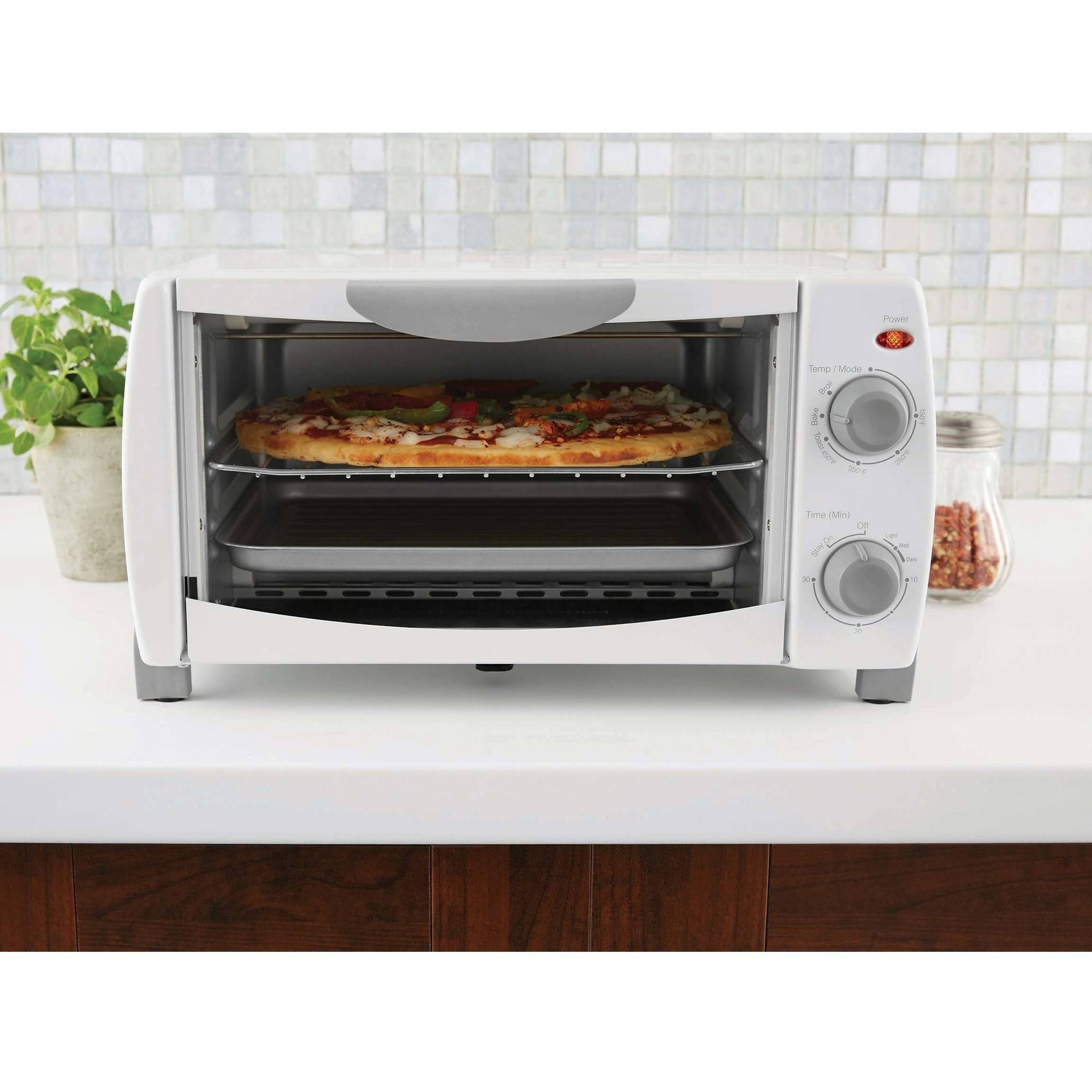 Mainstays 4-Slice Toaster Oven, White