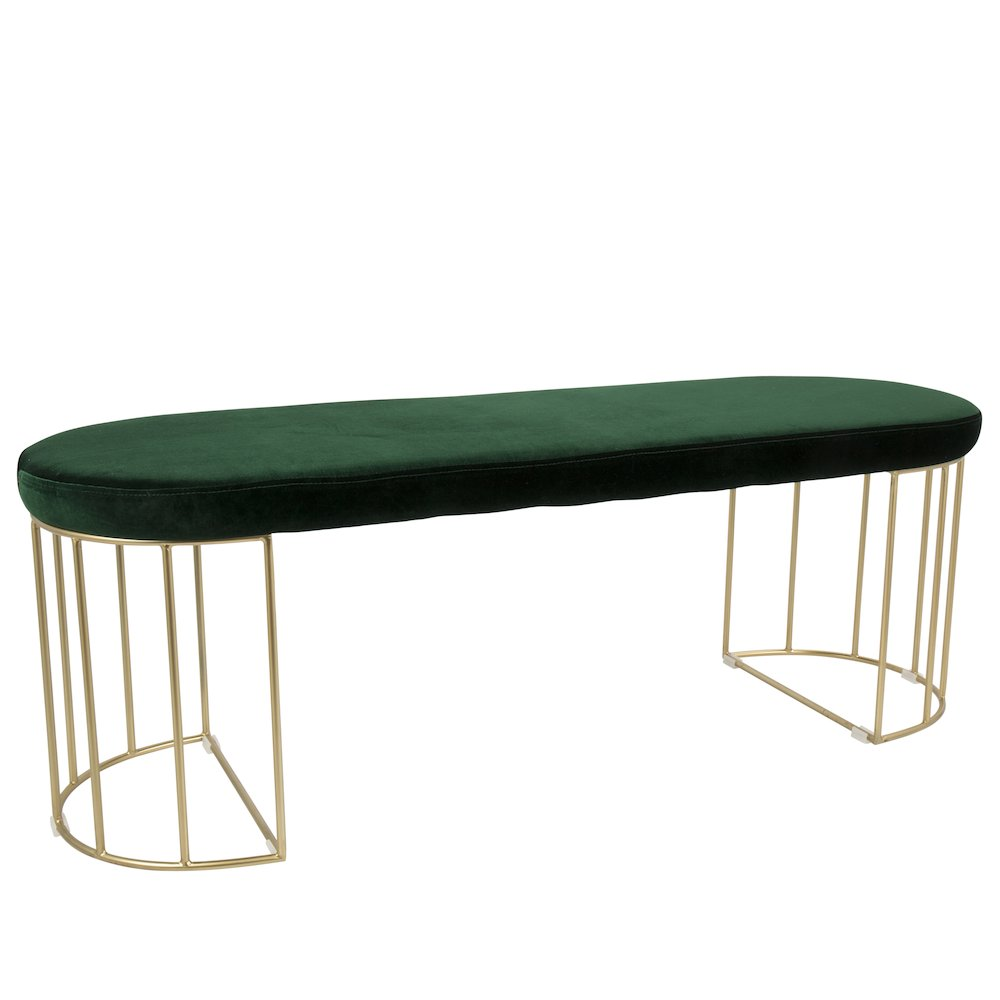 Canary Contemporary Dining Entryway Bench in Gold and Green Velvet by Lumisource by