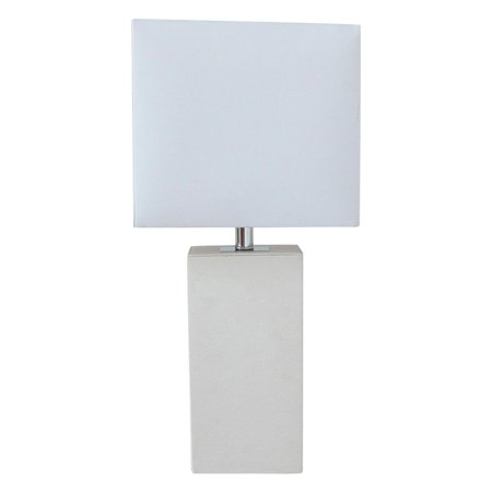 Elegant Designs Modern Leather Table Lamp with White Fabric Shade
