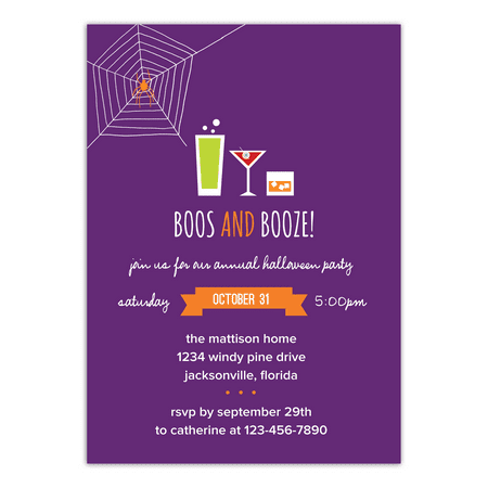Personalized Halloween Invitation - Boos and Booze - 5 x 7 Flat - Handmade Halloween Invitations