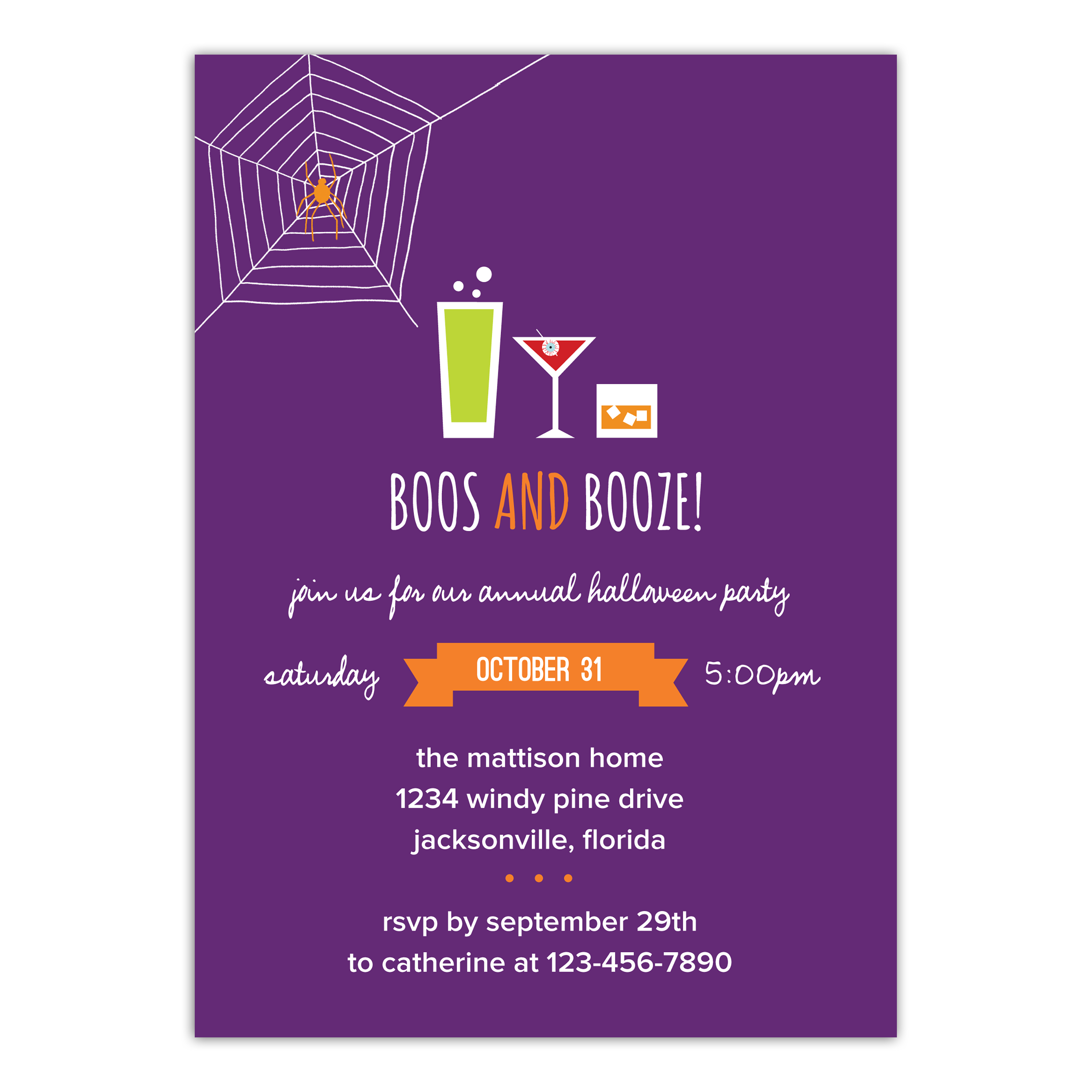 Personalized Halloween Invitation - Boos and Booze - 5 x 7 Flat