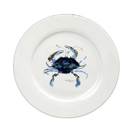 Male Blue Crab Round Ceramic White Salad Plate 8324-DPW (Mock Crab Salad)