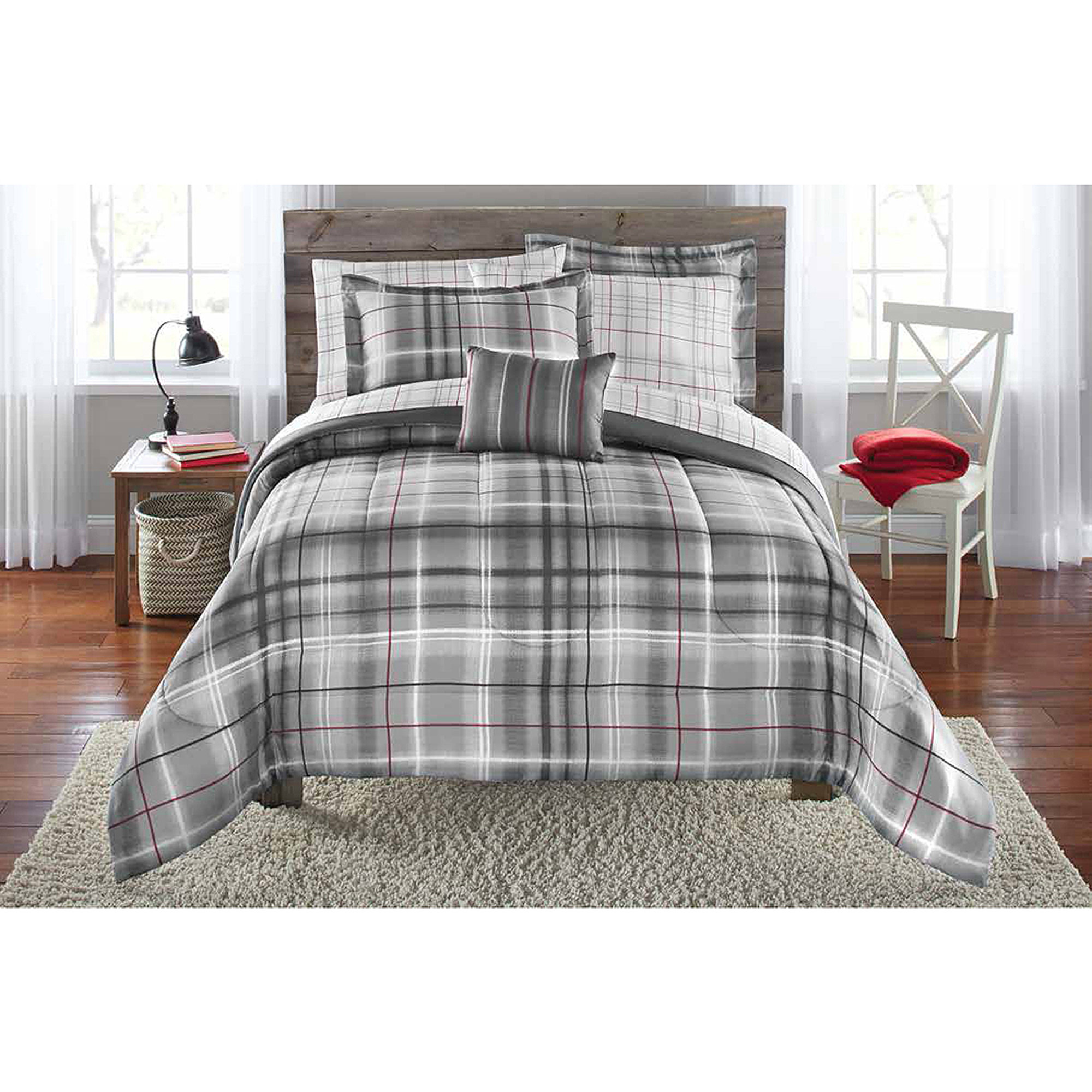 Mainstays Bed-in-a-Bag Bedding Comforter Set, Grey Plaid