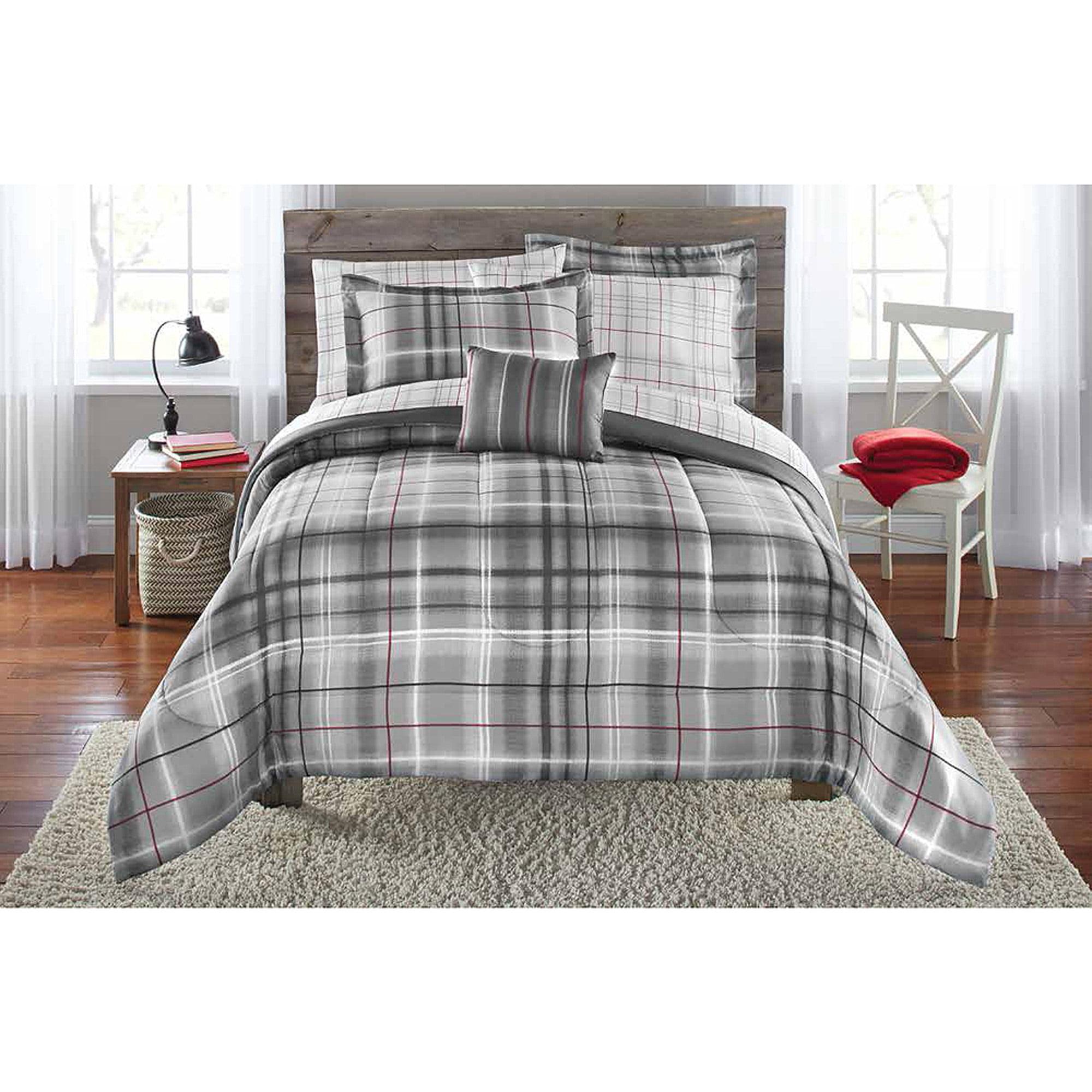 Mainstays Bed-in-a-Bag Bedding Comforter Set, Grey Plaid