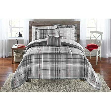 Mainstays Bed In A Bag Bedding Comforter Set Grey Plaid