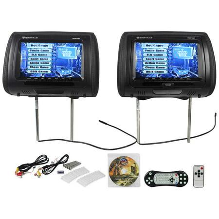 "New Rockville RDP931-BK 9"" Black Car DVD/USB/HDMI Headrest Monitors+Video Games (Headrest Dvd Black)"