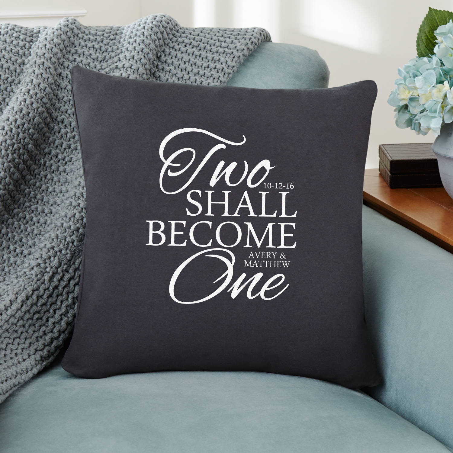 Personalized Two Become One Throw Pillow