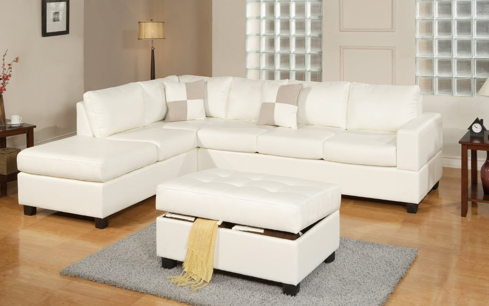 3 Piece Modern Reversible Tufted Bonded Leather Sectional Sofa