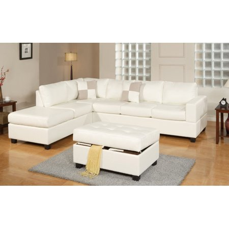 3 piece modern reversible tufted bonded leather sectional for Sectional sofa in walmart