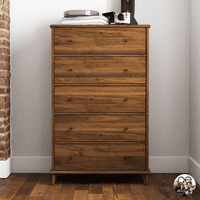 Queer Eye Farnsworth 5 Drawer Mid-Century Modern Dresser, Walnut