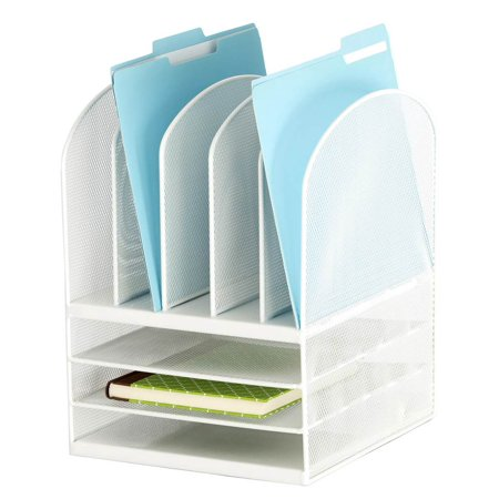 5 upright sections desk organizer in white - Desk organizer white ...