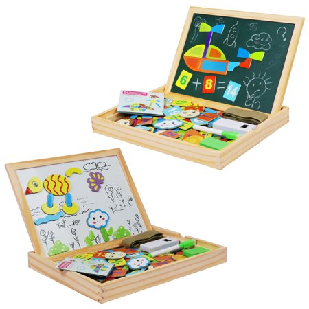 See Inside Alphabet Puzzle - Becko Toddler Magnetic Jigsaw Puzzle Board Wooden Educational Toys for Children, Multifunctional Double Sided Travel Wooden Drawing Frame with Dry Erase, Blackboard, Alphabet, Number