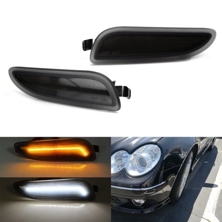 Euro Side Marker (iJDMTOY (2) Euro Smoked Lens Amber/White Switchback LED Side Marker Lights Fit 2003-2009 Mercedes W209/C209 CLK-Class)