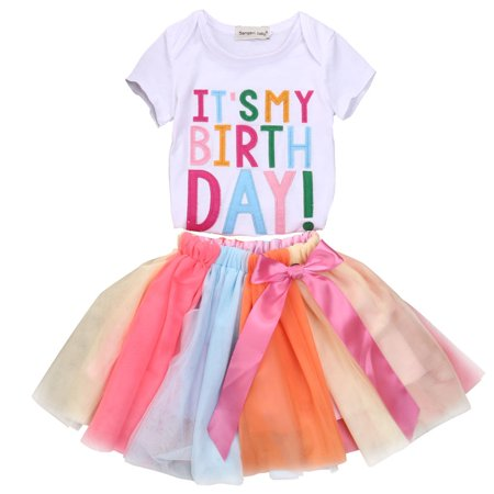 c8b163ee1 Gaono - Baby Kid Girls Short Sleeve It's My Birthday T-shirt+Rainbow Tutu  Skirt Outfits - Walmart.com