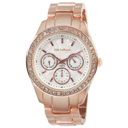 Womens Rose Gold Boyfriend Watch Chunky Bracelet White Dial Big Face Large Crystal Bezel - Face Bezel