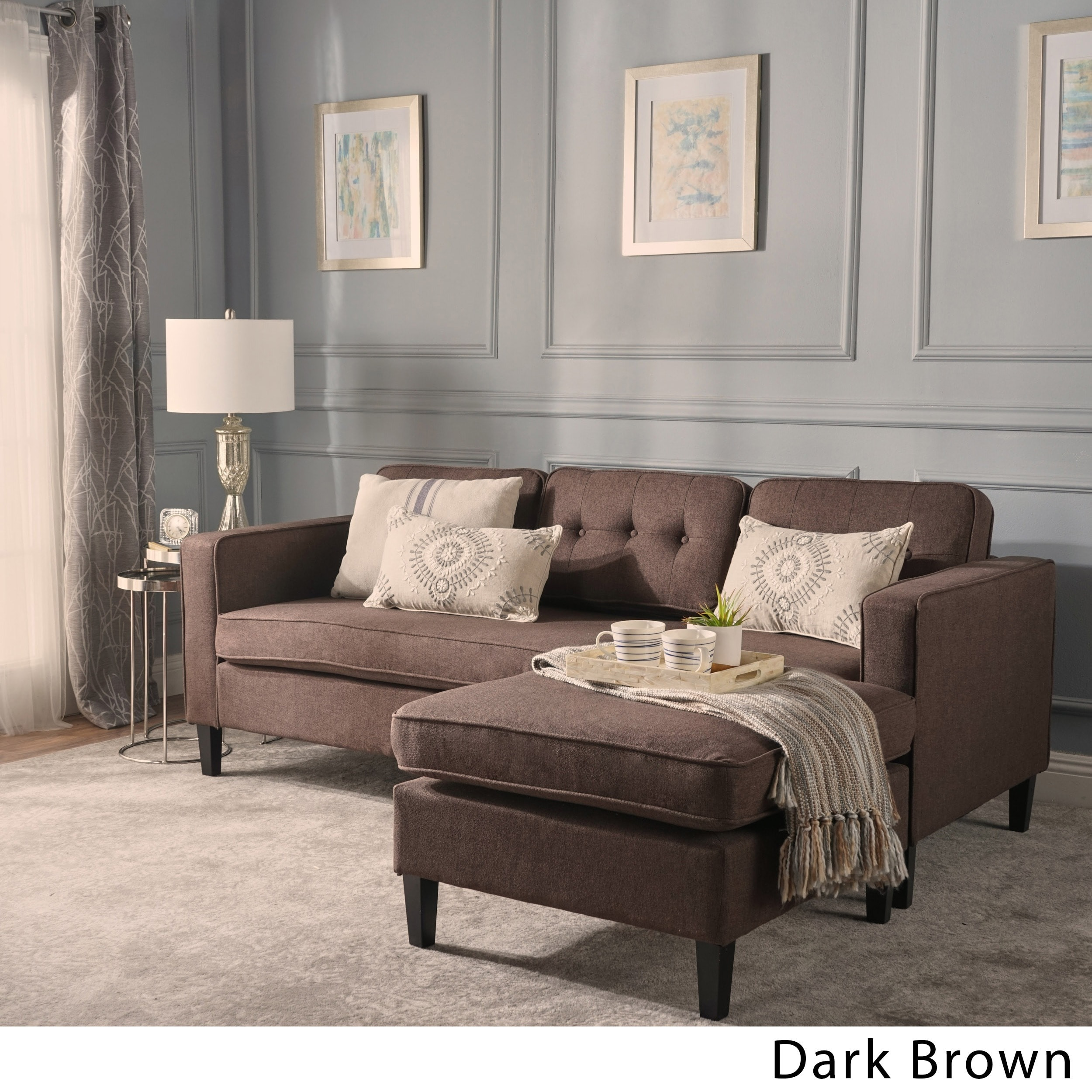 Christopher Knight Home Wilder Mid-century Modern 2-piece Fabric Chaise Sectional Sofa by