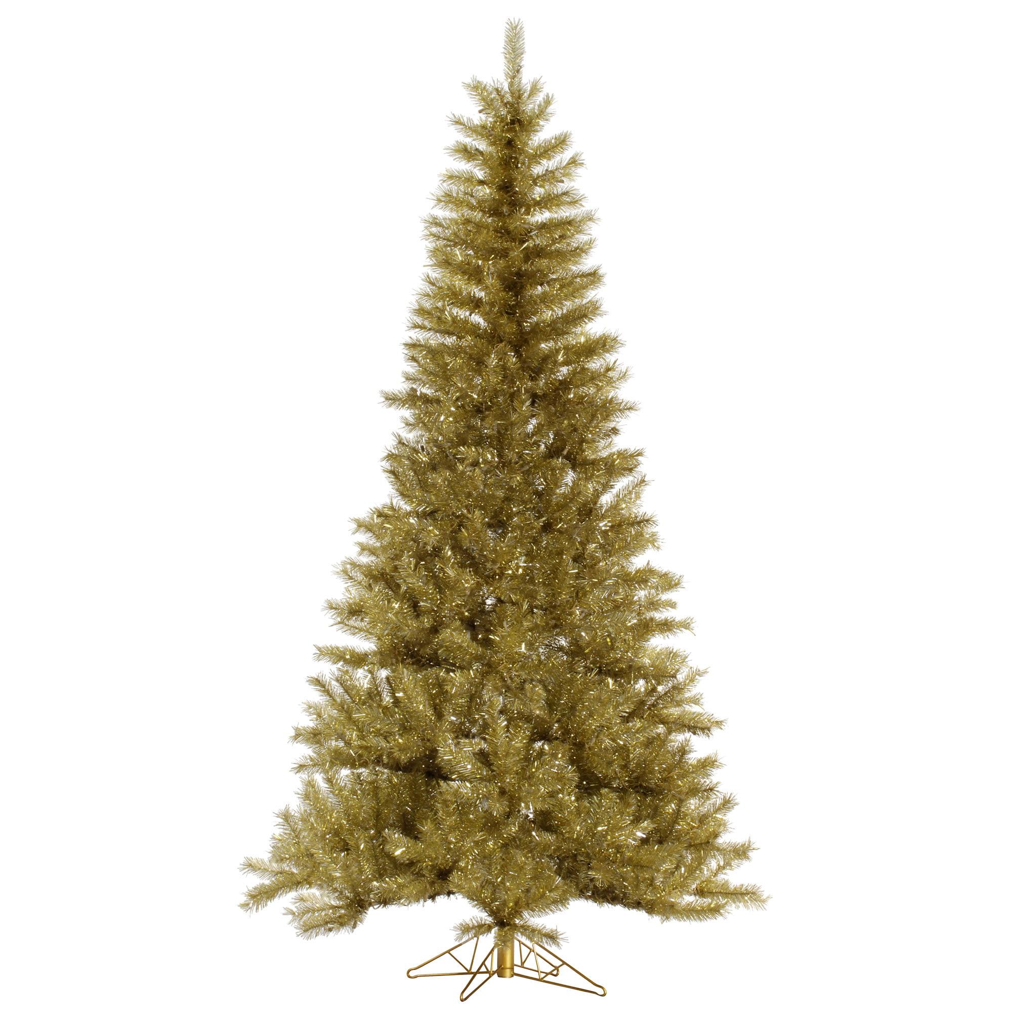 "Vickerman Artificial Christmas Tree 7.5' x 48"" Gold/Silver Tinsel Tree 1001 Tips"