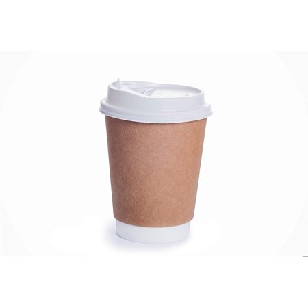 Disposable Coffee Cups with Snap Lids in Bulk, Double Walled Thermal Insulation Paper Travel Cup with Cover for Hot Beverages like Tea, Cocoa(25 Pack - 12 - Ppr Hot Cup