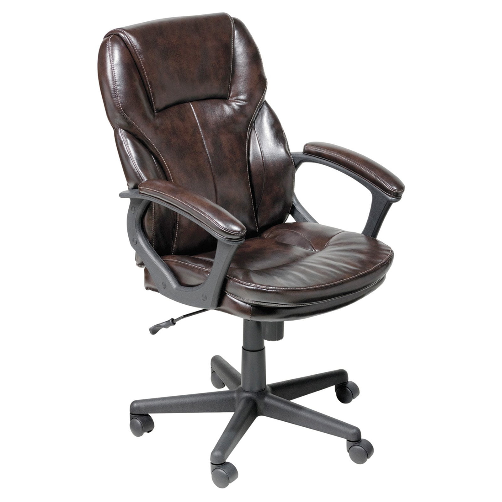 Serta manager puresoft leather executive office chair roasted chestnut walmart com