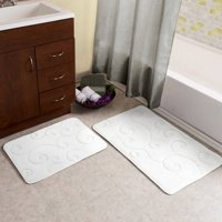 Somerset Home Memory Foam Bath Mat Set, 2-Piece, Coral Fleece Embossed Pattern