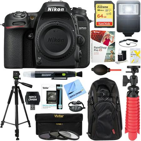 Nikon D7500 20.9MP DX-Format Digital SLR Camera (Body Only) + 64GB Deluxe Accessory Bundle