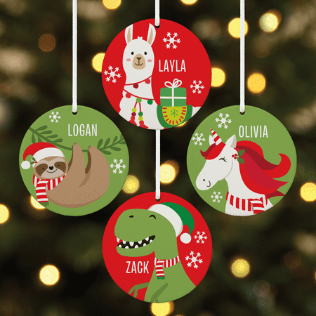 Personalized Fa La La Friends Round Christmas Ornament - Available in 4 Characters ()