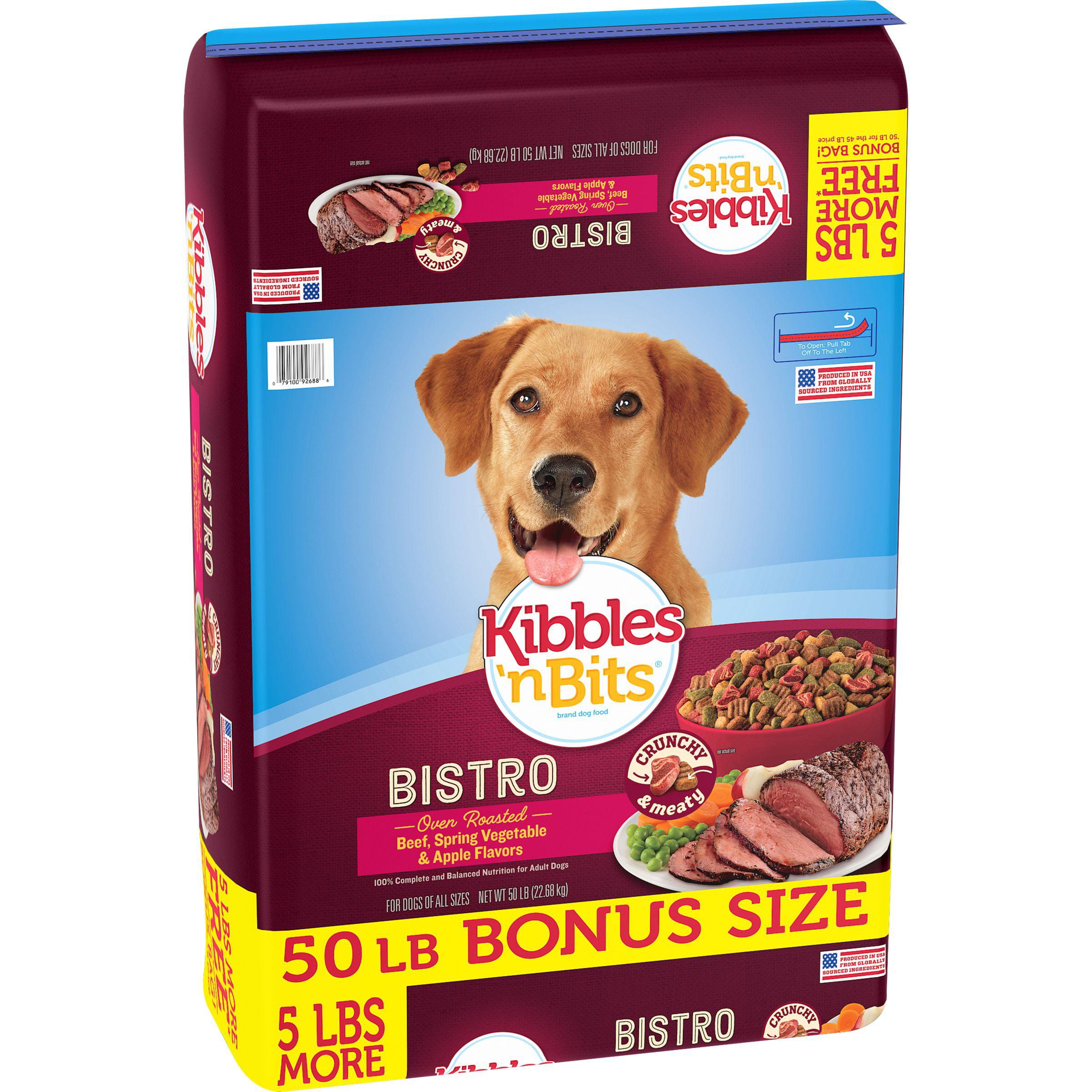 Kibbles`n Bits Bistro Oven Roasted Beef Flavor Dry Dog Food, 50-Pound