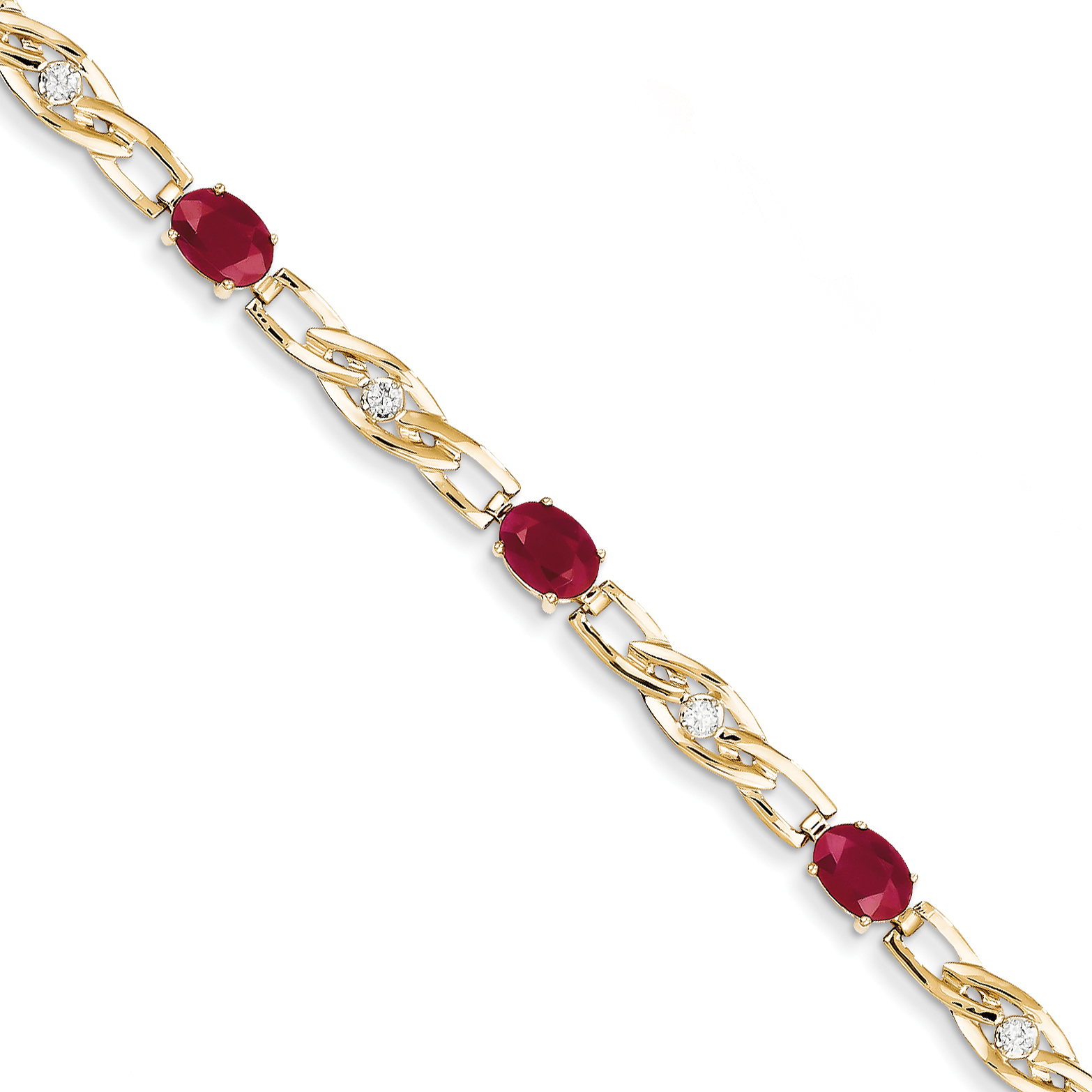 14k Yellow Gold Diamond and Ruby Bracelet by