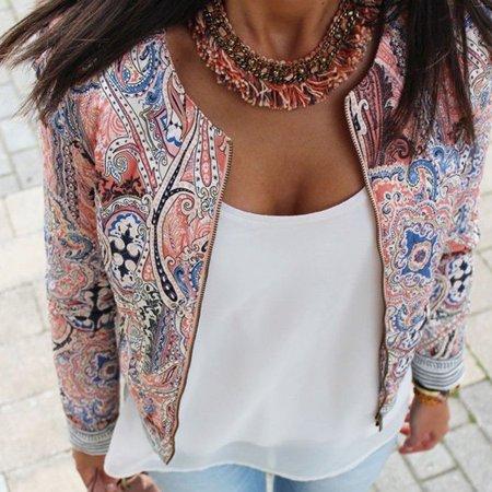 Fashion Women Floral Slim Casual Summer Blazer Suit Jacket Coat Outerwear