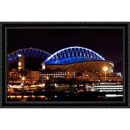 Centurylink Field 40X26 Large Black Ornate Wood Framed Canvas Art   Home Of The Seattle Seahawks