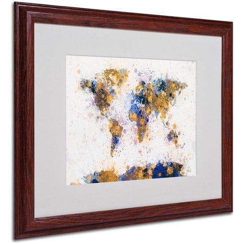 """Trademark Fine Art """"Paint Splashes World Map 2"""" Matted Framed by Michael Tompsett"""
