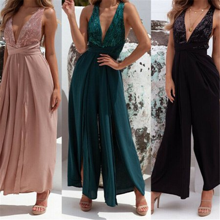 Multitrust Womens Summer Sexy V Neck Sleeveless Jumpsuit Loose Wide Leg Pants Suit Playsuit Color: , Size: