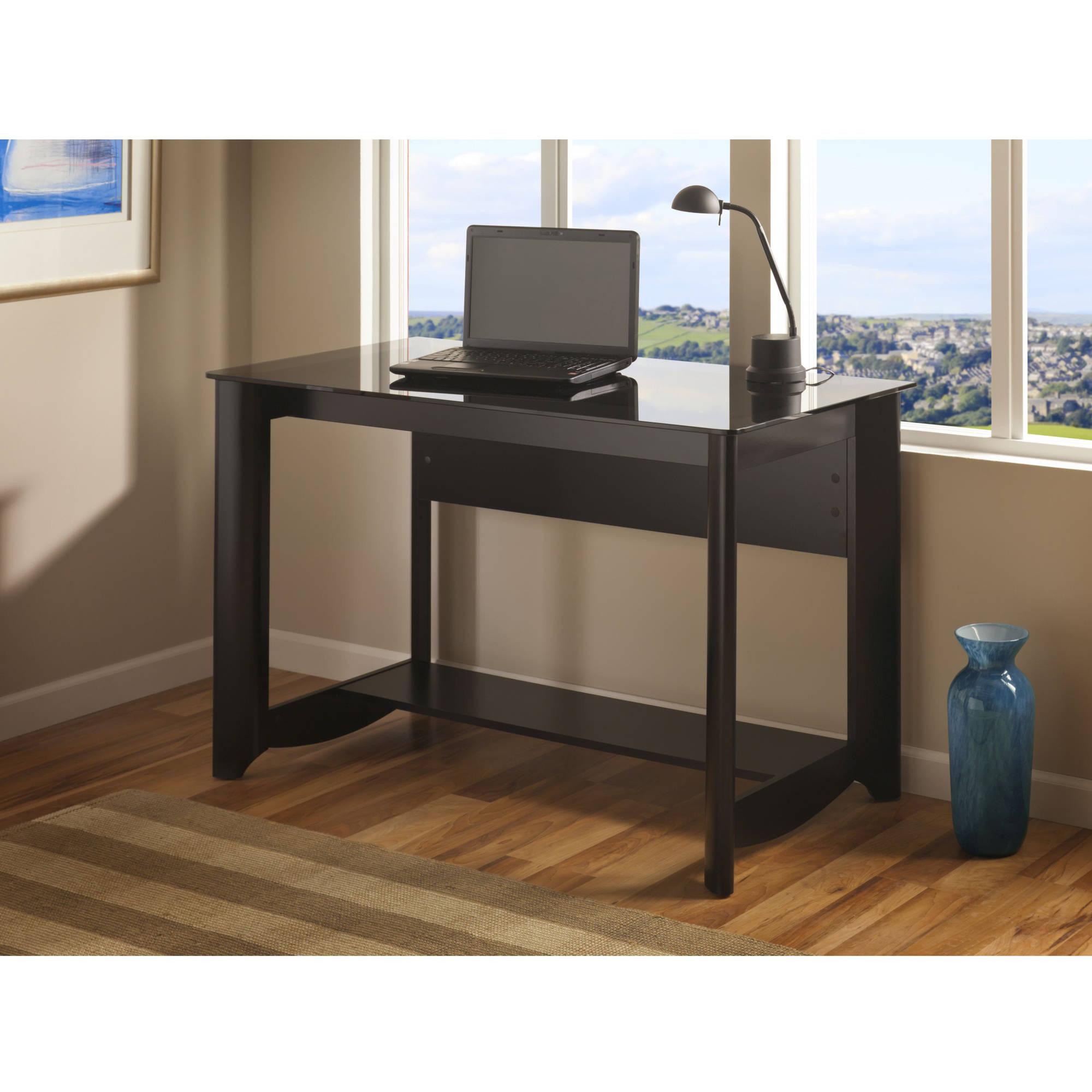 """Bush Aero Collection Modern 47"""" Glass Desk, Classic Black Finish"""