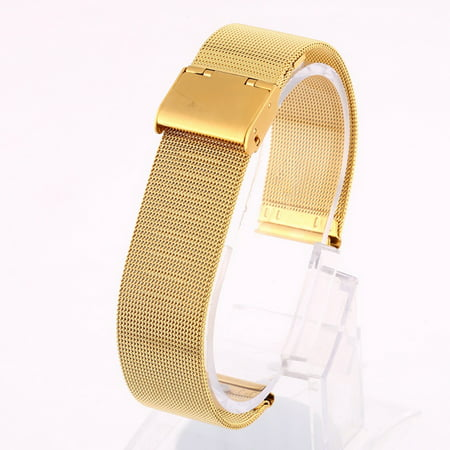 SNHENODA 12-24mm Watch Band Strap Women Men Adjustable 316L Stainless Steel Hook Buckled Wristband Bands Replacement Metal Thin Bracelet