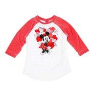 Disney Girls Minnie Mickey Mouse Heart Raglan Long Sleeve T-Shirt Tee Shirt