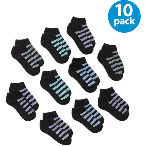 No boundaries Women's Mesh Stripe Low Cut Socks - 10 Pack