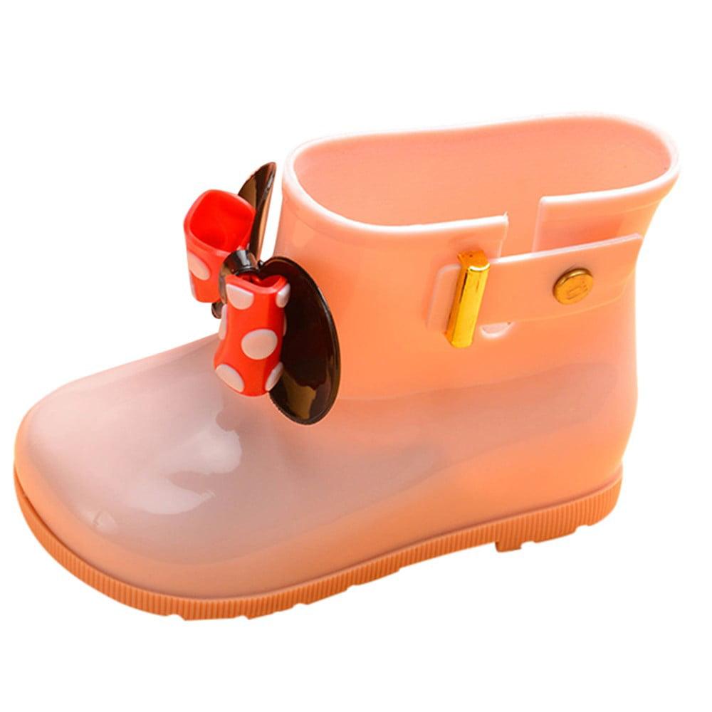 Mosunx Kids Children Baby Girls Bowknot Dot Rubber Waterproof Student Boots Rain Shoes
