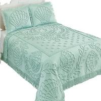 Aqua Shell Design Chenille Bedspread with Fringe Border - Coastal Bedroom Décor