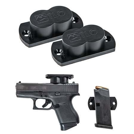 TLO Outdoors GunMag Gun Magnets (2 Pack) Magnetic Gun Mounts for Mounting of Shotguns, Rifles, Pistols, & Ammo Magazines in Vehicles, Home, or Office with TLO's Exclusive Safety Cylinder