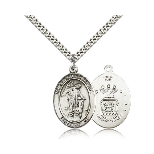 Bliss Large Detailed Men's.925 Sterling Silver Guardian A...