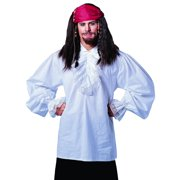Ruffled Cotton White Pirate Shirt Fancy Stag Party Mens Halloween Costume STD