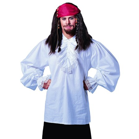 Ruffled Cotton White Pirate Shirt Fancy Stag Party Mens Halloween Costume STD - Pirate Makeup For Men