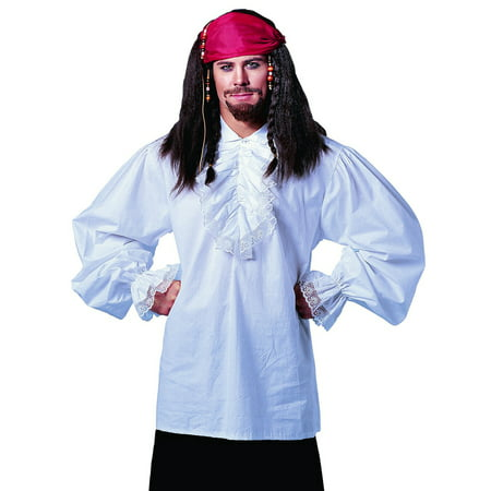 Ruffled Cotton White Pirate Shirt Fancy Stag Party Mens Halloween Costume STD - Top Costumes For Men