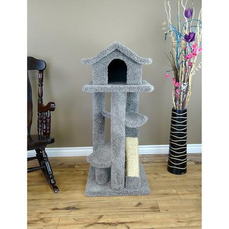 Pagoda Cat Tree - New Cat Condos Large 46 in. Pagoda Cat Tree